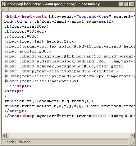 Google homepage soruce code